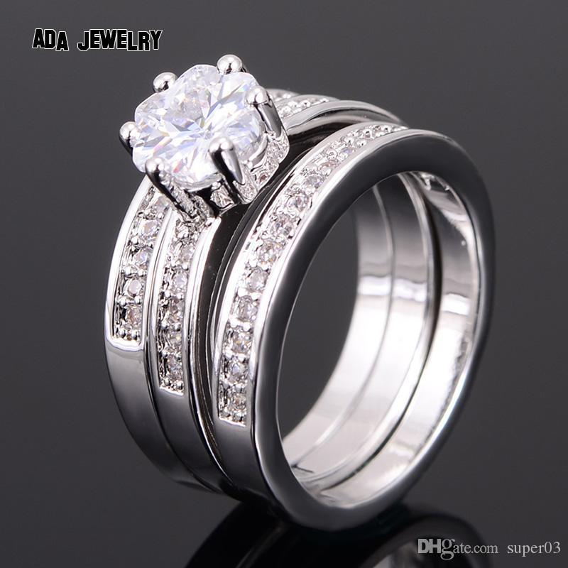 3 Circles Eternity Love Charming CZ Diamond Ring Set White Gold Plated  Engagement Wedding Rings for Women Couple Jewelry
