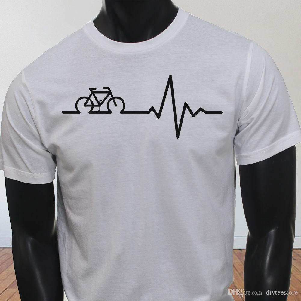 b03391b11 Heart Beat Factory Outlet Black Bike Pulse Mens White T-Shirt Shirt Men Boy  Camiseta Custom Short Sleeve Boyfriend's Big Size Group Tshirt