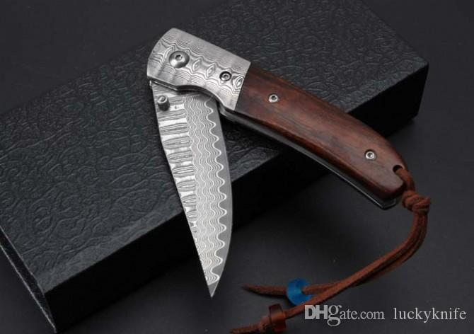 Thomas damascus knife damascus steel blade outdoor camping Pocket collection knives gift Xmas EDC Tools