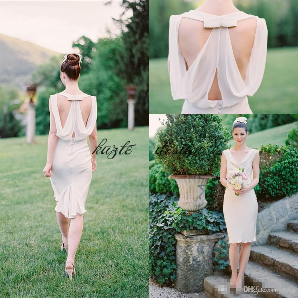 New 2018 knee length country bridesmiad dresses cheap sexy backless scoop neck sleeveless maid of honor wedding guest dress
