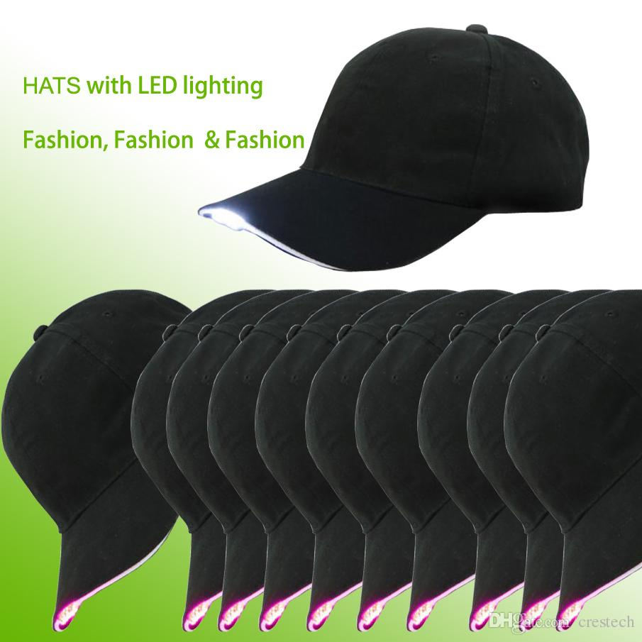 LED-Beleuchtungsmode baesball Hüte Schwarzes Baumwollgewebe LED beleuchtete Glühen-Verein-Partei-Hut-Reise-Baseballmütze