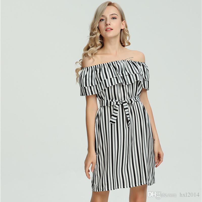 Women\'S Clothing 2019 Summer Fashion Plus Size Striped Ruffled Slash ...