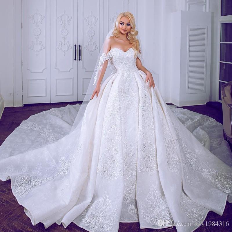 Acquista Abiti Da Sposa Principessa Dubai Favolosa Splendida Abito Da Sposa  Lungo In Pizzo Con Applicazioni Di Pizzo A  462.16 Dal Xzy1984316  4994b087cda