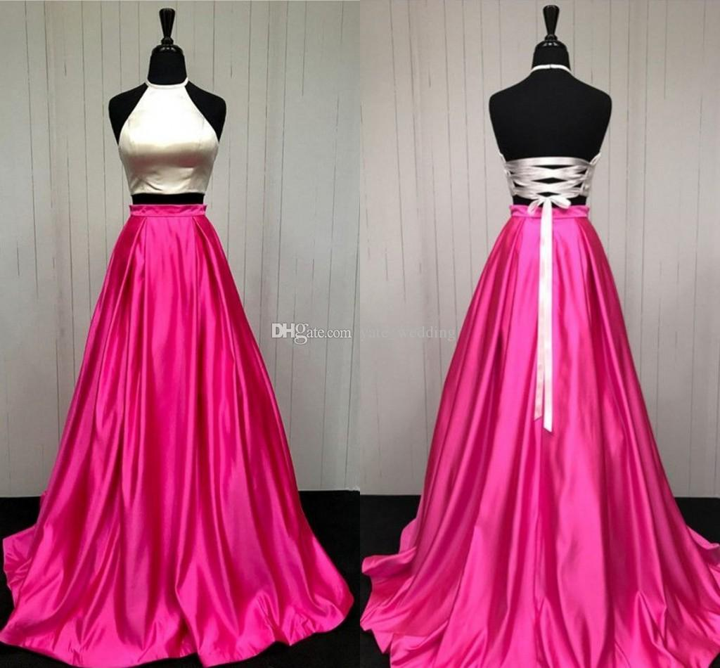 100% Real Image! Two Piece Prom Dresses Halter Satin Corset Lace Up ...
