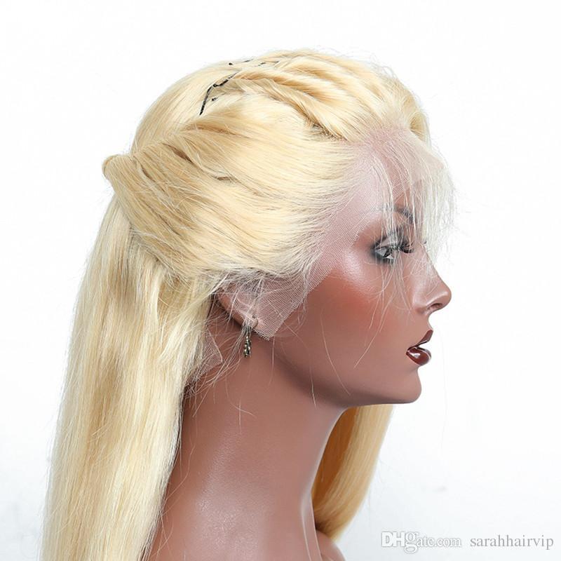 # 613 Blonde Dentelle Avant de Cheveux Humains Perruques Pour Les Femmes Soyeux Droite Brésilienne Vierge Cheveux Full Lace Perruques Avec des Cheveux de Bébé Naturel Délié