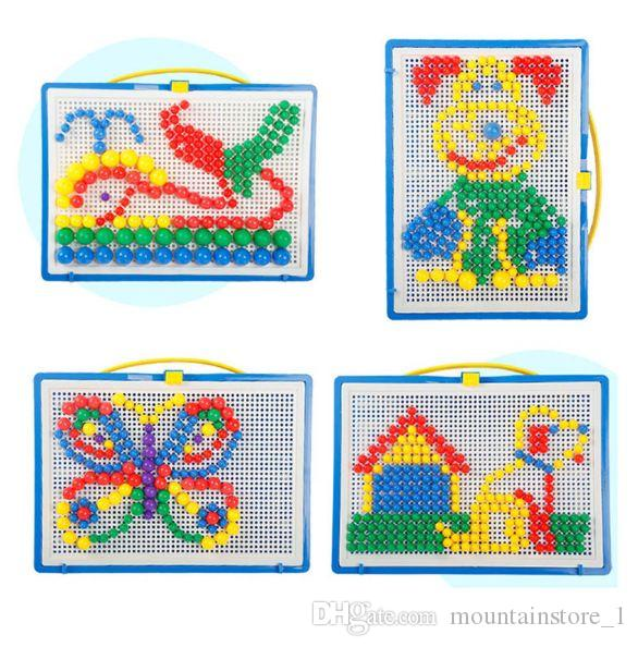 Mosaic Picture Puzzle Toy Children Composite Intellectual Educational Mushroom Nail Kit Toys For Kids With Retail Box