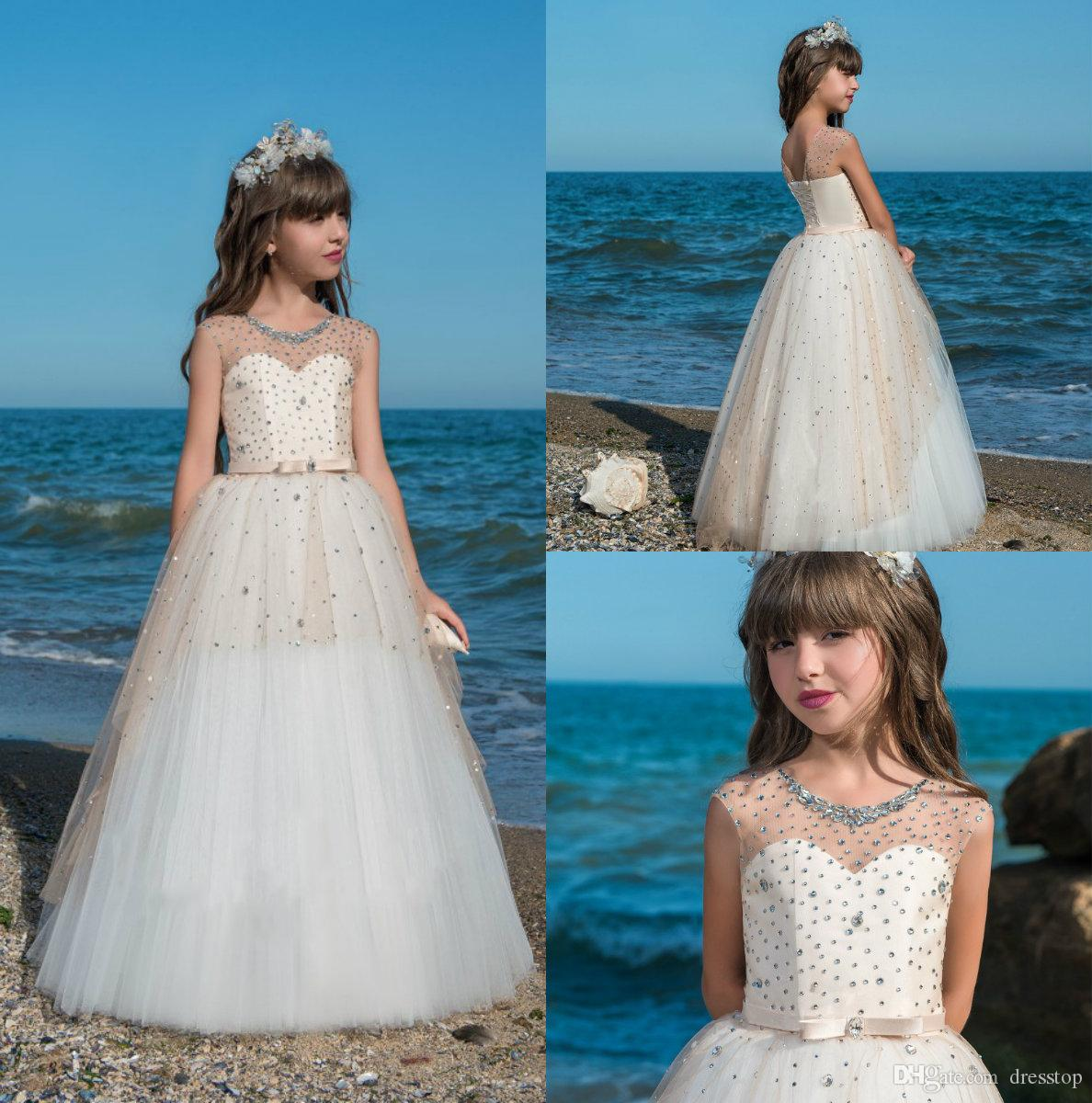 2018 Lovely Flower Girls Dresses For Beach Weddings Sheer Neck Ball ...