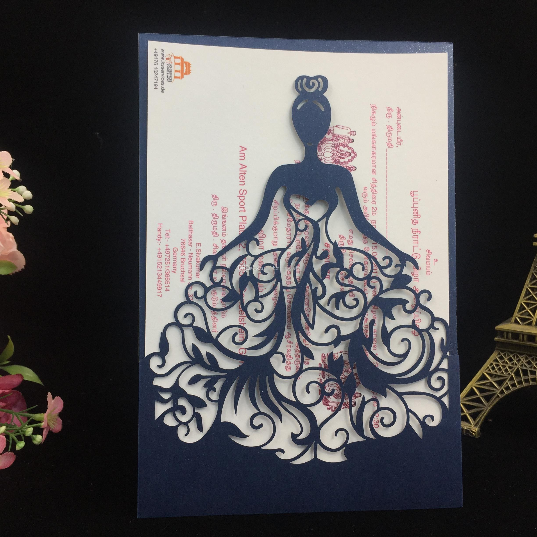 Nouveau / Livraison gratuite Laser Cut princesse fille conception de mariage anniversaire anniversaire Party papier Invitation cartes texte personnalisé