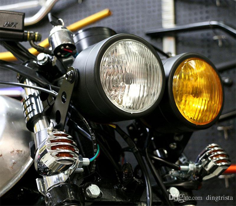 TKOSM Motorrad Scheinwerfer Doppelscheinwerfer Motorrad Doppel Dual Head Lamp Dominator Allgemeine Für Harley Honda Yamaha Kawasaki Suzuki