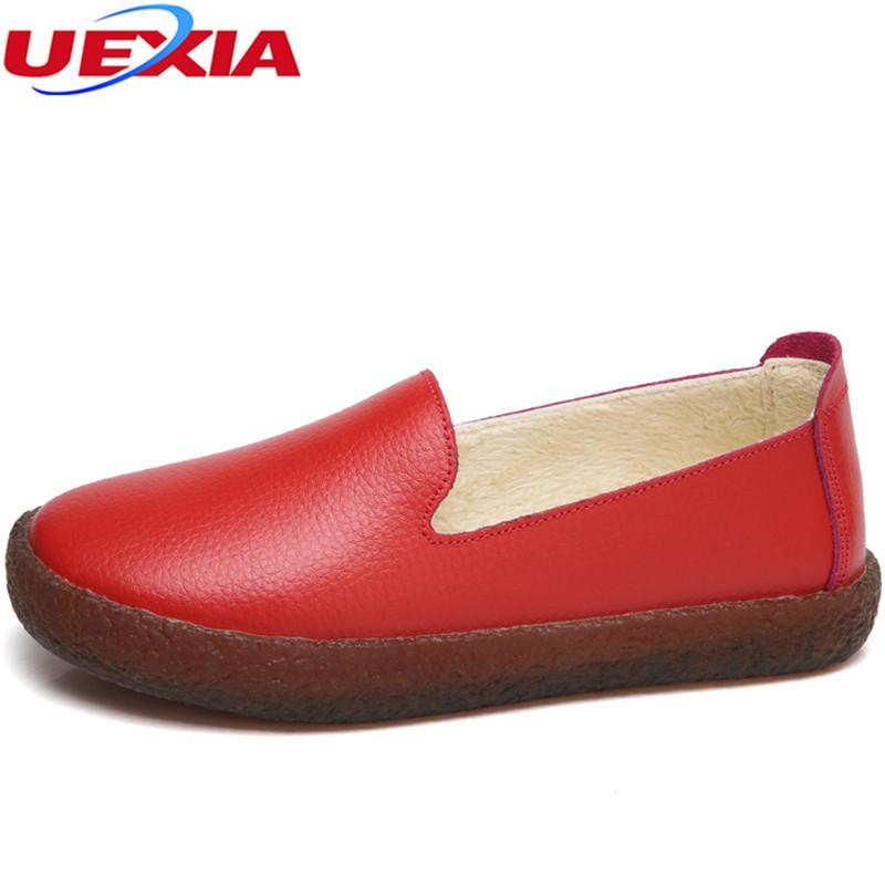 5427704ae8ab UEXIA Loafers Women Flats Heel Shoes Warm Fur Winter Round Toe ...