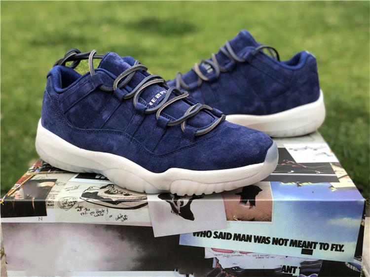 cb4fce3fc64f3d 2019 Hot Sale 11 Low RE2PECT Derek Jeter Blue Suede 11S Men Basketball Shoes