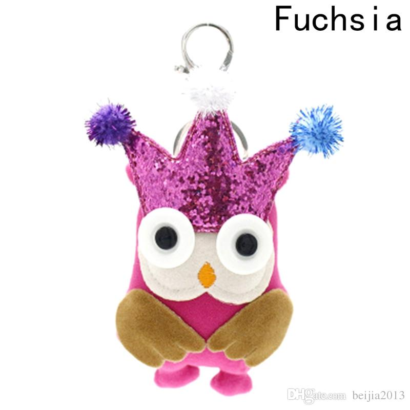 Cute Creative Animal Charm Keychain Ladies Women Bag Owl Crown Key Ring Holder for Car Pendant Key Chains