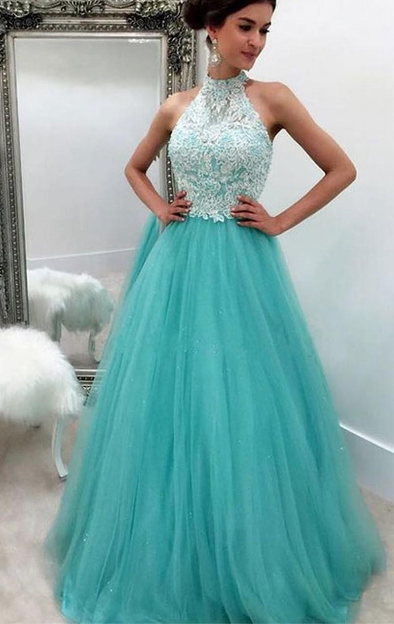Formal Evening Dresses Sky Blue Lace Tulle High Neck Women's Fashion Bridal Gown Special Occasion Prom Bridesmaid Party Dress