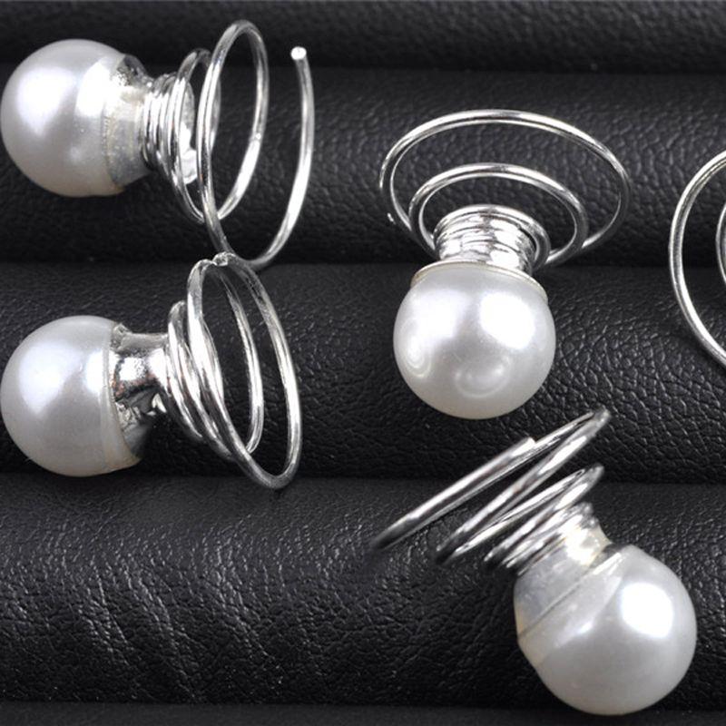 Pearls Wedding Bridal Hair Pins Twists Coils Swirl Spiral Hairpins Fashion Hair Clips Jewelry Accessories