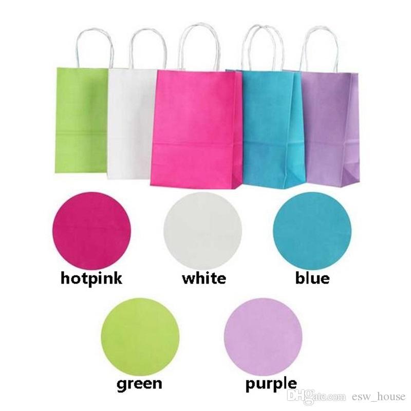 Kolları ile DIY İşlevli yumuşak renkli kağıt torba / 21x15x8cm / Festivali hediye çantası / Yüksek Kaliteli alışveriş çantaları kraft kağıt