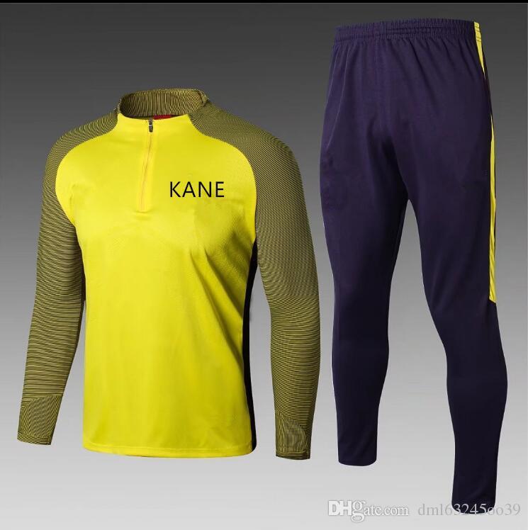 006f4f2a98 2017 2018 KANE DELE ALLI Tracksuit Kits Men Soccer Uniform 17 18 ERIKSEN  SON JANSSEN LAMELA football track suit training wear S-XL