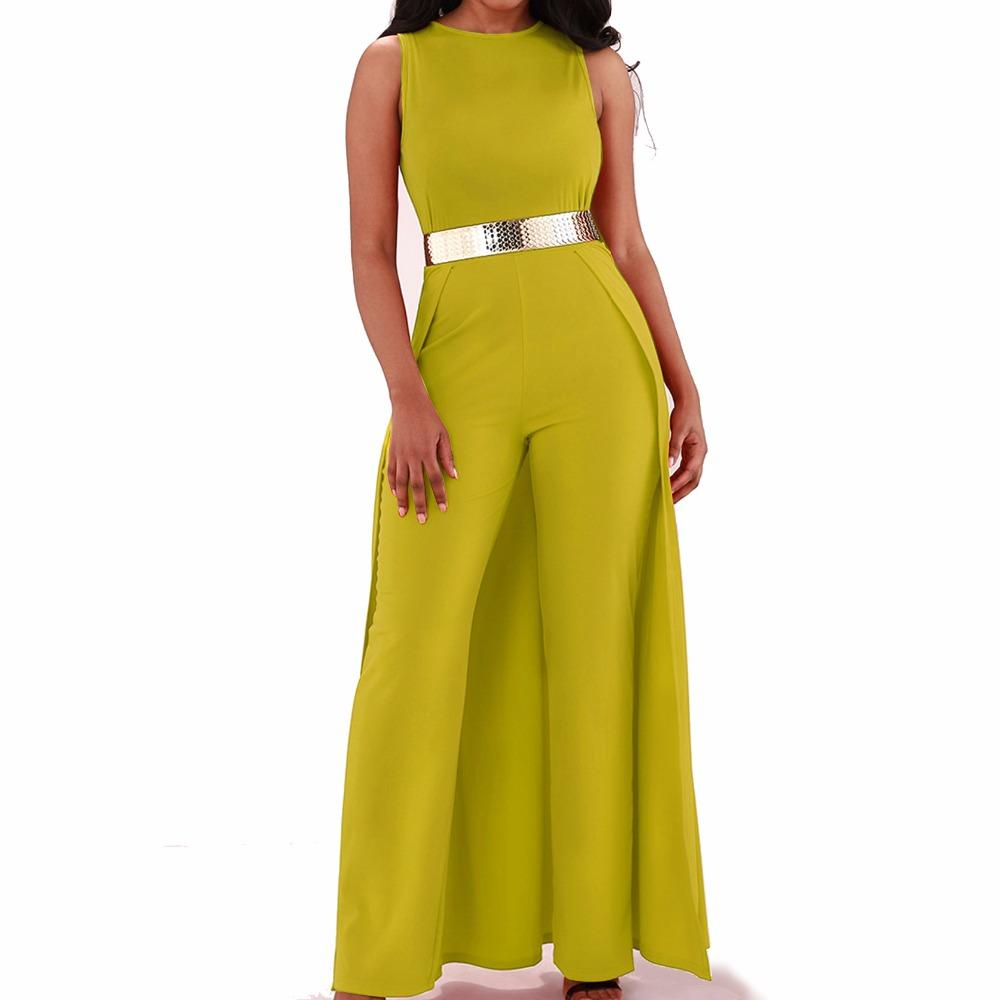 2019 Cloak Cape Wide Leg Jumpsuit Women Sleeveless O Neck Back