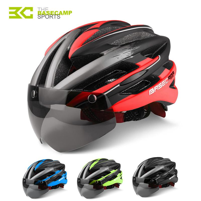 08dbd28fc9f 2019 Basecamp Bicycle Helmets Sunglasses Cycling Glasses Helmet 3 Lens  Integrally Molded Men Women Mountain Road Bike Helmets From Sport2017, ...