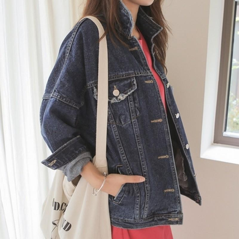 6917395e8b2e0 EXOTAO Women Classic Denim Jackets Fashion Frayed Blue Jeans Chaqueta Turn  Down Collar Loose Coat Female Autumn Basic Outwear Outdoor Jackets Carhart  ...