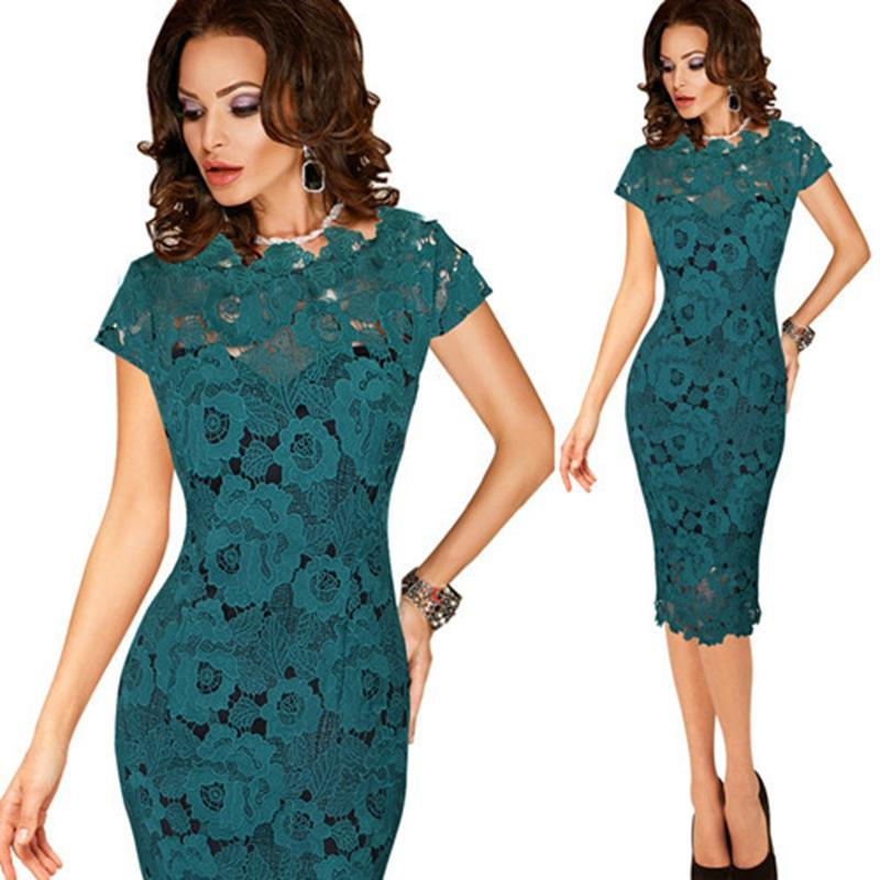 2019 Womens Elegant Sexy Crochet Hollow Out Pinup One Piece Dress