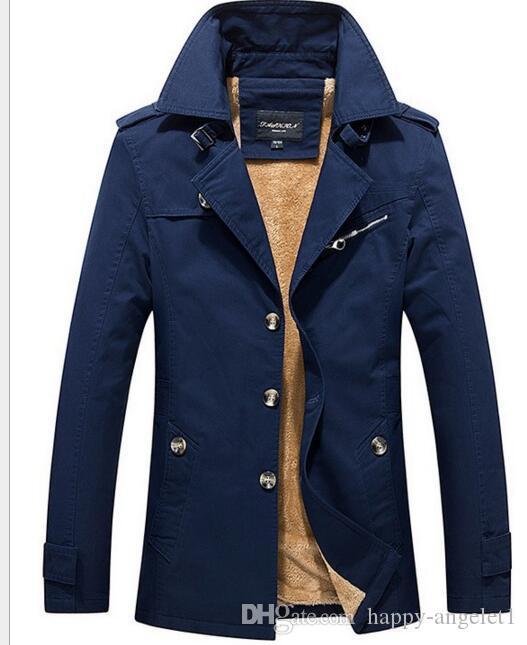 bffb2c41d5d New 2018 Winter Fleece Bomber Jacket Men Trench Coat Male Cotton Button  Casual Slim Army Military Overcoat Jacket Plus Size Mens Coat Jacket Coats  And ...