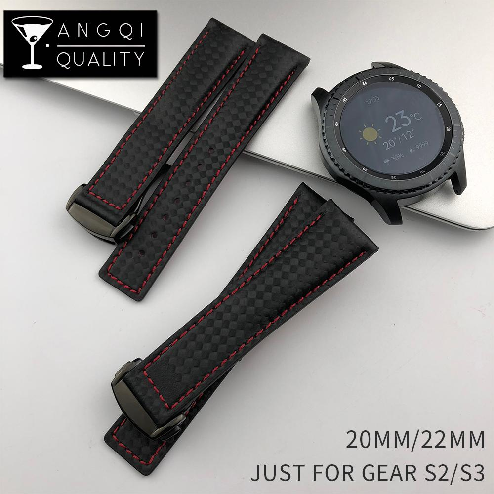 on sale 72772 ae4d4 22MM Sport Carbon Fiber Leather for Samsung Gear S2 S3 Frontier Classic  Waterproof Watch Band Strap Watchband Bracelet Man Black