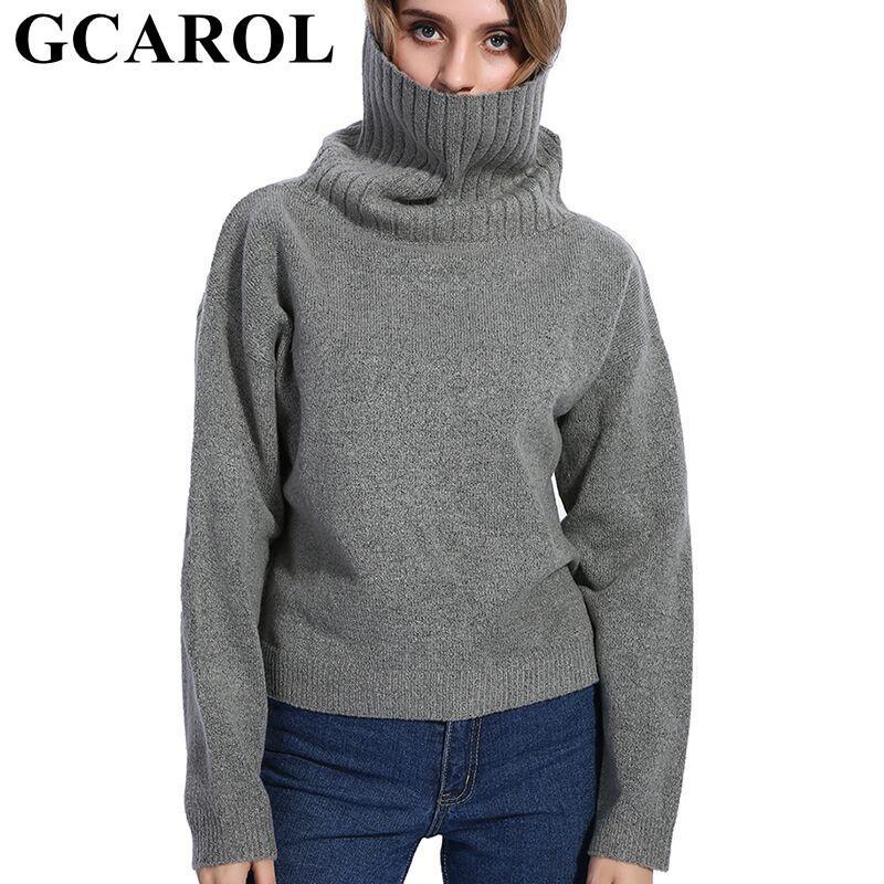 2019 GCAROL 2018 Fall Winter Women Turtleneck Sweater 20% Wool High Quality Oversize  Knit Jumper Soft Hand Pullover In S18100803 From Jinmei03 d32cf2f3d