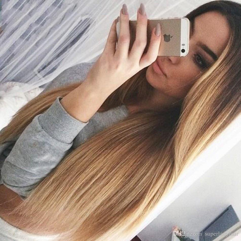 Frauen Lange Haare Glattes Haar Ombre Farbe Frauen Haar Perucken Synthetische Perucke Mittelteil Haarteile