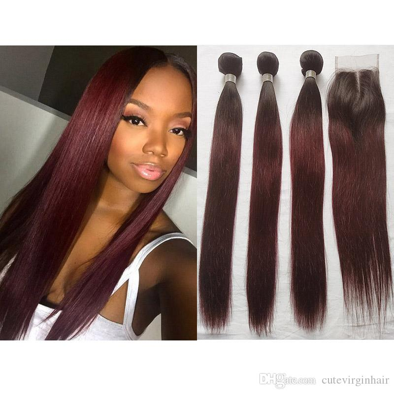2019 Ombre Color 1b 99j Red Straight Hair 3 Bundles With 4x4 Lace