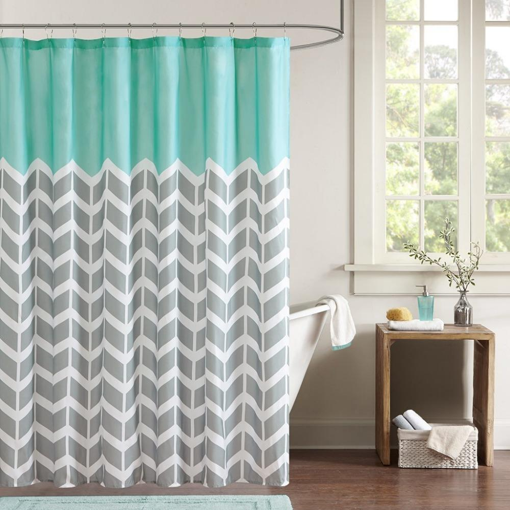 2019 Multi Color Optional Shower Curtain Simple Classic Chevron Pattern Blue Gray White Painting Polyester Fabric Bathroom Set From Amaryllier