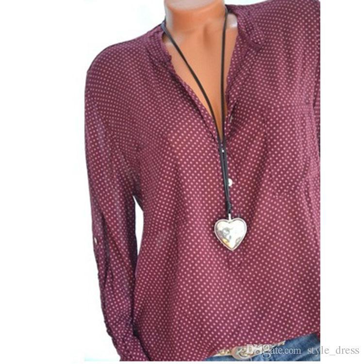 Женщины горошек блузка V шеи лето с длинным рукавом пр работы офиса свободные топ рубашки