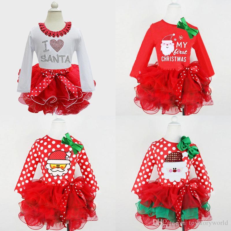 1059a175e18d7 Acheter En Gros Noël Bébé Fille Vêtements Mignon Infantile Cake Maillot  Barboteuse Robes Dentelle Princesse Robe Père Noël Tutu Robe Costume De  Fête De ...