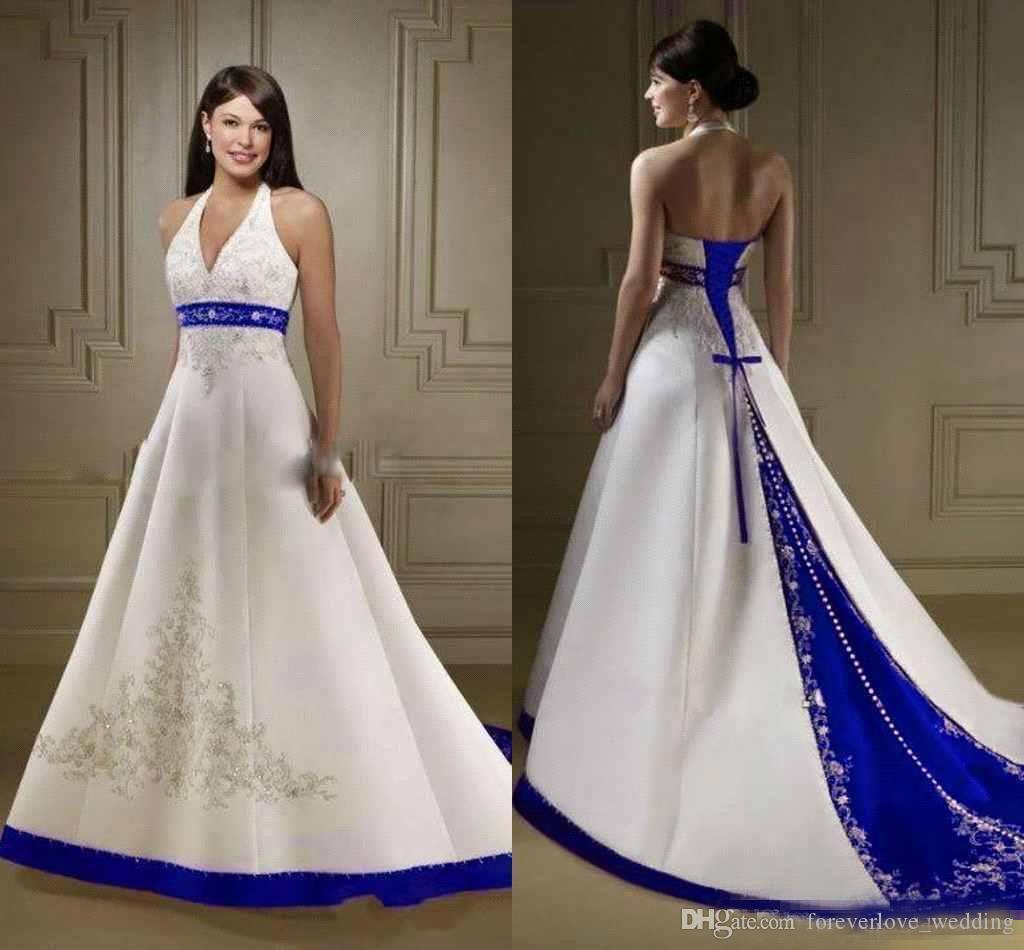 Discount White Royal Blue A Line Wedding