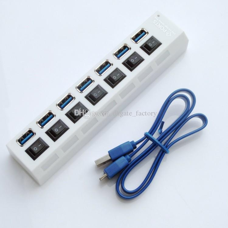 2018 Multi LED 7 Ports High Speed USB Hub 2.0 480Mbps Hub USB On/Off Switch Portable USB Splitter Peripherals For Computer with package