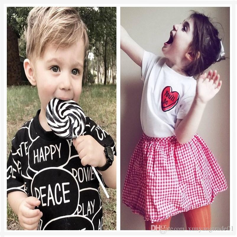 eef8ceefd3c1 Baby Clothes Boys Girls T Shirt Classic Black White Letter Heart ...