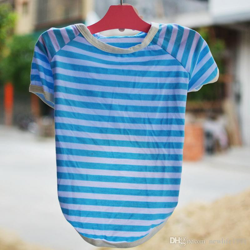 Cute Cat Lovely Clothes Dog Striped Funny Clothing Pet Fashion Dog Apparel Vest Spot Shirt Puppy Casual Tshirt Free Ship