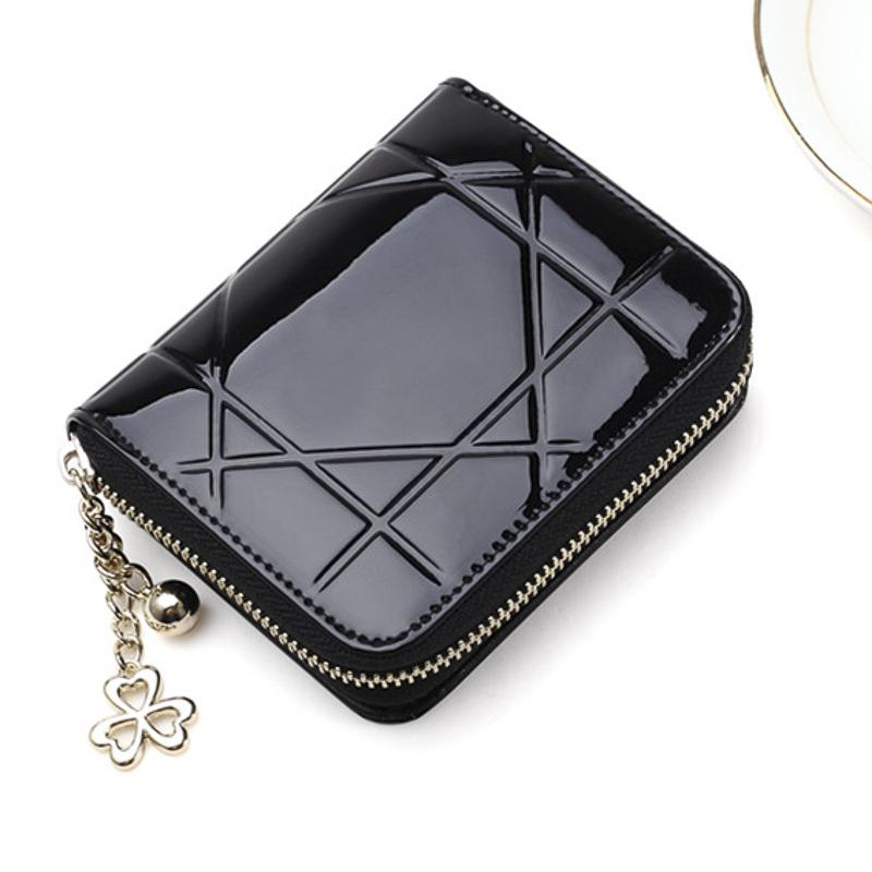 d8c3ef1777b9 Metal Pandent Women Zippper Wallet Geometry Lines Handbag PU Leather Short  Purse Small Coin Purse Mini Money Bag Zippper Wallet Women Handbag Short  Purse ...