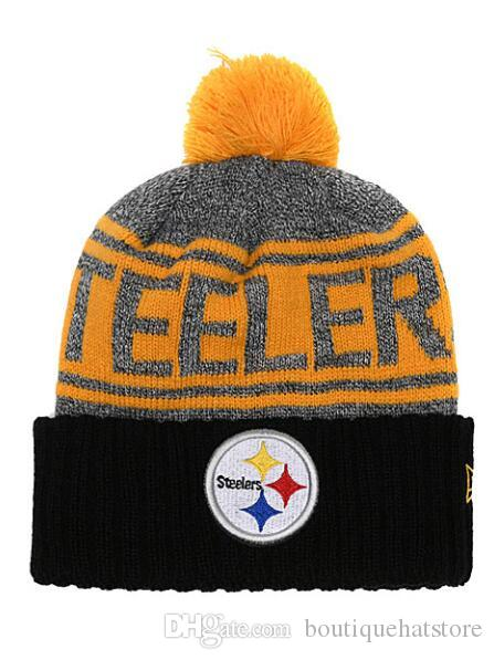 d456ecf57 2019 One Piece Fashion Brand Name Knit Hat With Pom Cheap Baseball Steelers  Sport Skullies Beanie Caps Hip Hop Beanies One Size Fits Most From ...