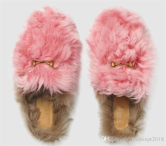 Slippers 2018 women spring new scuffs wool flat lazy mule shoes metal chain warm outside wearing fur shoes