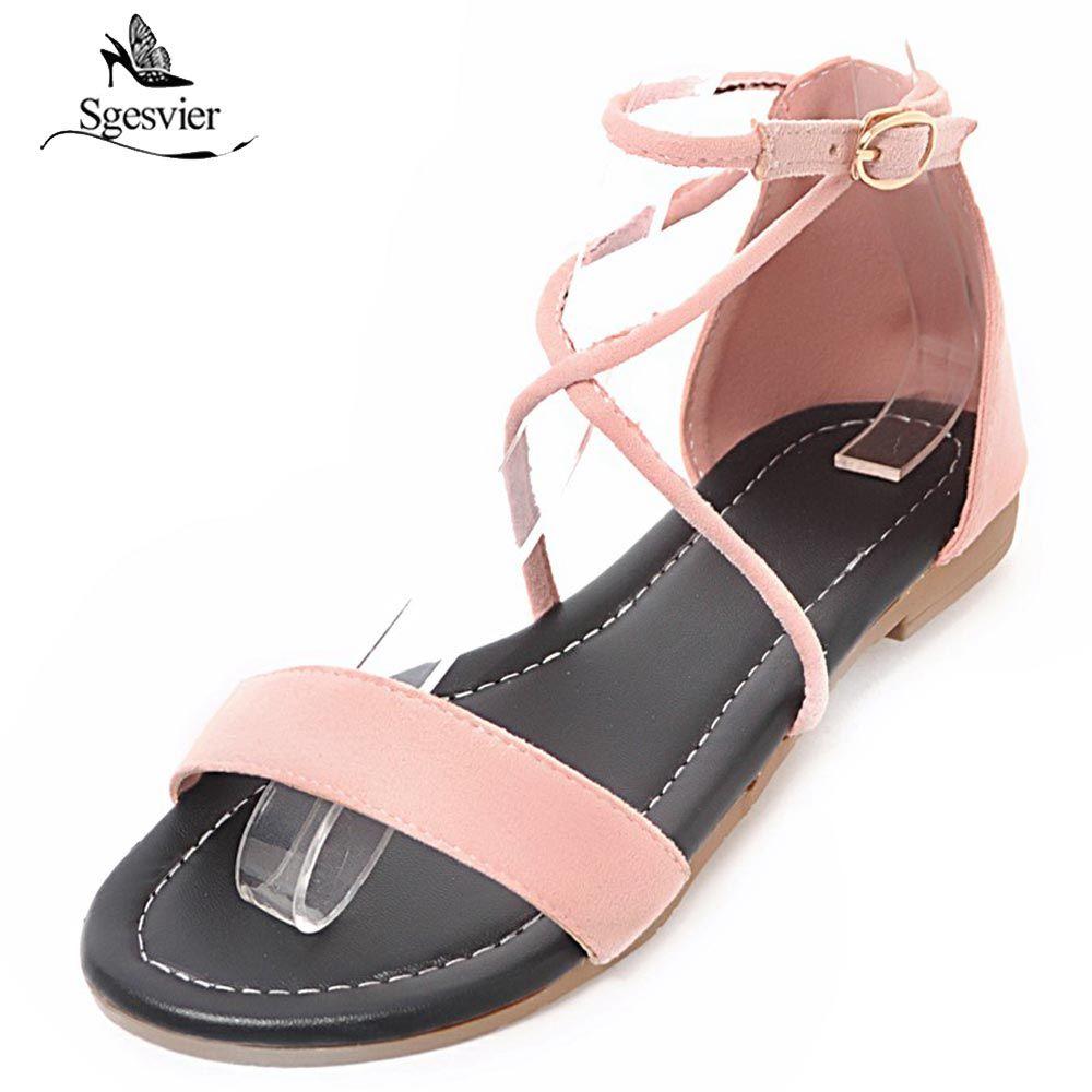 a5b8588b6 Wholesale Women Sandals New 2018 Summer Flat Sandal Gladiator Shoes Sexy  Peep Toe Buckle Cute Lady Footwear Size 33 43 B397 Womens Sandals Sandals  For Men ...