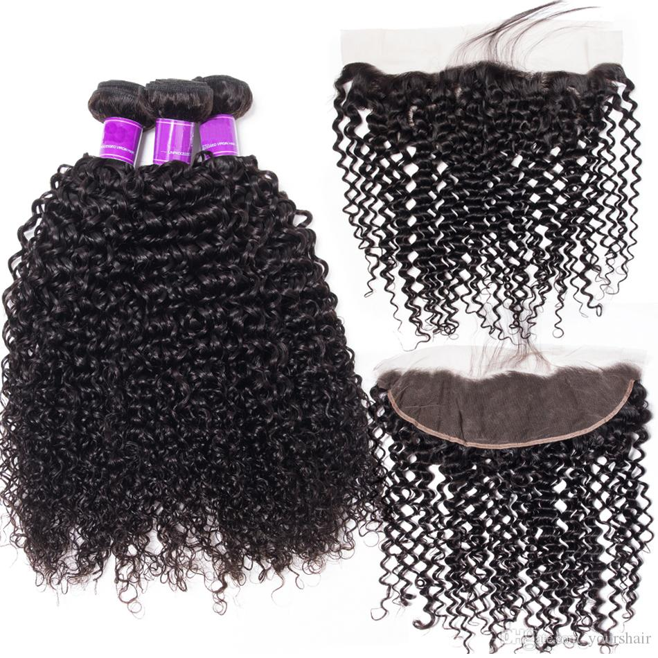 3 Bundles With Lace Frontal Mink Brazilian Deep Curly Hair Bundles With Frontal Jet Natural Black Color Virgin Deep Curly Hair