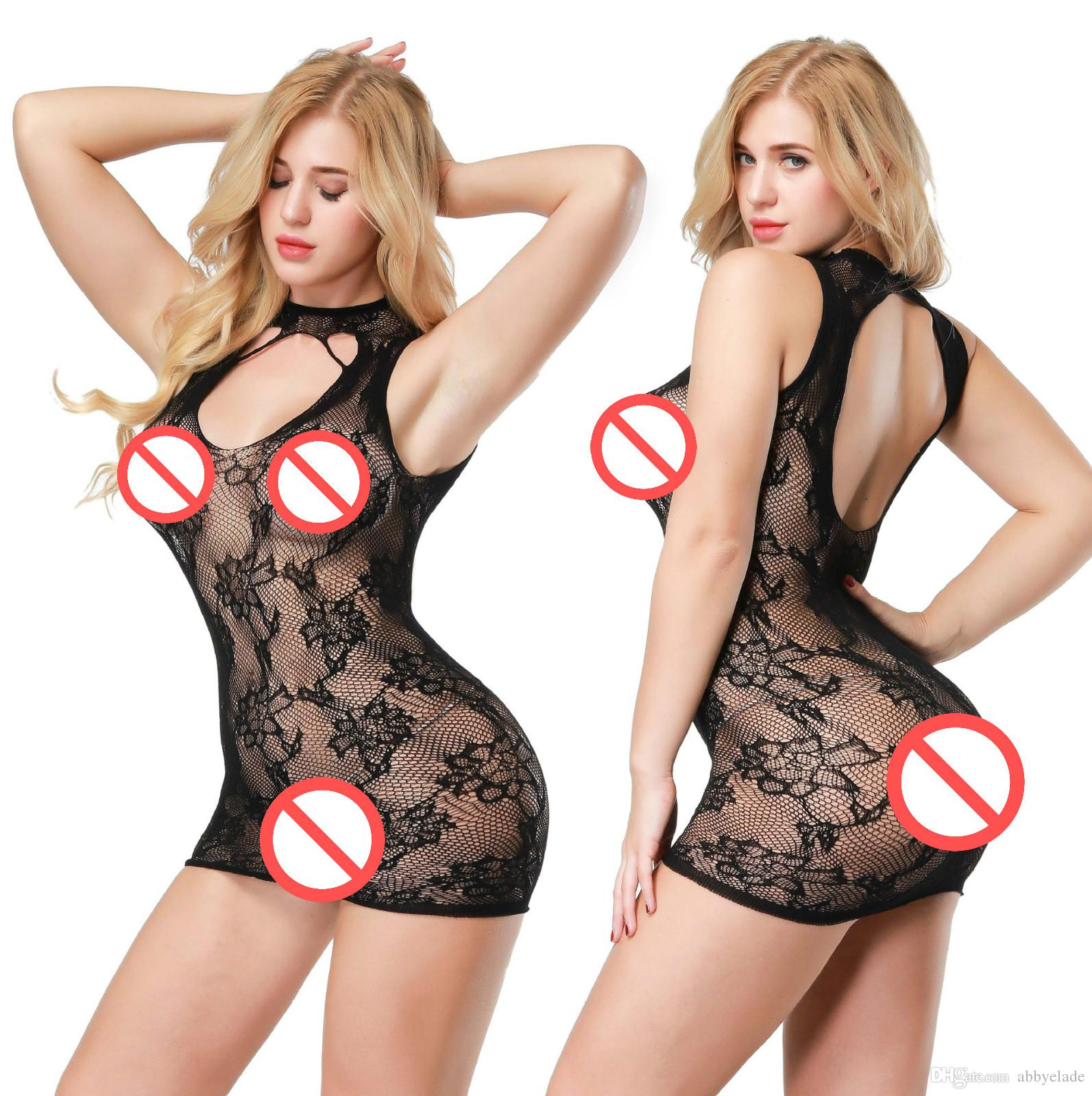 eefd42c1747 2019 Halter Fishnet Bodysuit Sexy Lingerie Fetish Chemise Pantyhose See  Through Nightwear Hot Sleepwear Floral Mesh Underwear Sexy Costume From  Abbyelade