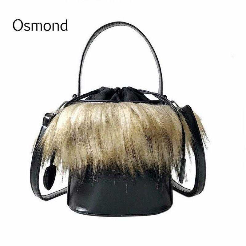 0b5663f338 Osmond 2018 Black PU Leather Messenger Bags Faux Fur Women Handbag Bolsa  Female Bucket Shoulder Bags Ladies Tote Handbags Purses Designer Purses  Satchel ...