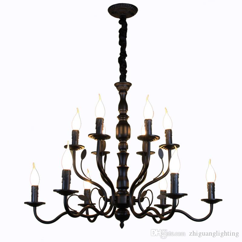 Luxury Rustic Wrought Iron Chandelier E14 Candle Black Vintage Antique Home  Chandeliers For Living Room European Lamp Ceiling Light Fixtures Kitchen  Pendant ... - Luxury Rustic Wrought Iron Chandelier E14 Candle Black Vintage