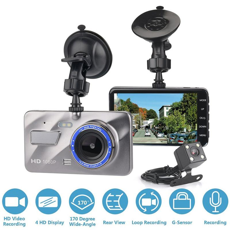 "4"" IPS screen car DVR recorder vehicle digital dashcam 2Ch car video camera dual lens full HD 1080P super night vision WDR G-sensor"