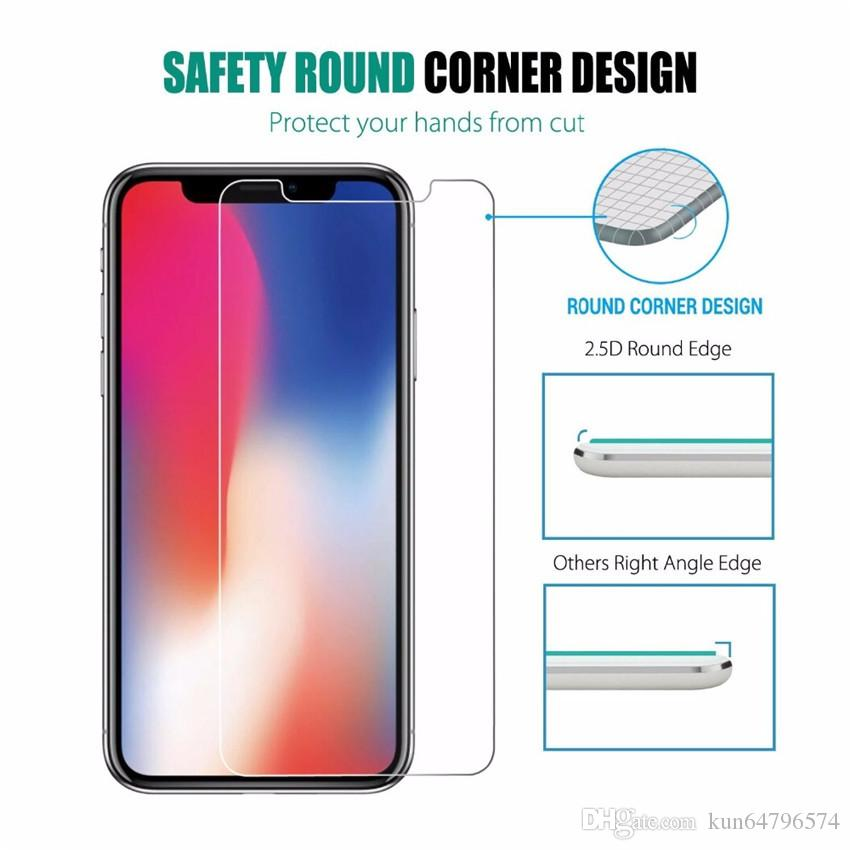 Para iPhone X 8 Protector de pantalla de vidrio templado para Iphone 7S Iphone X Edition Film 0.33mm 2.5D 9H Paquete de papel anti-rotura