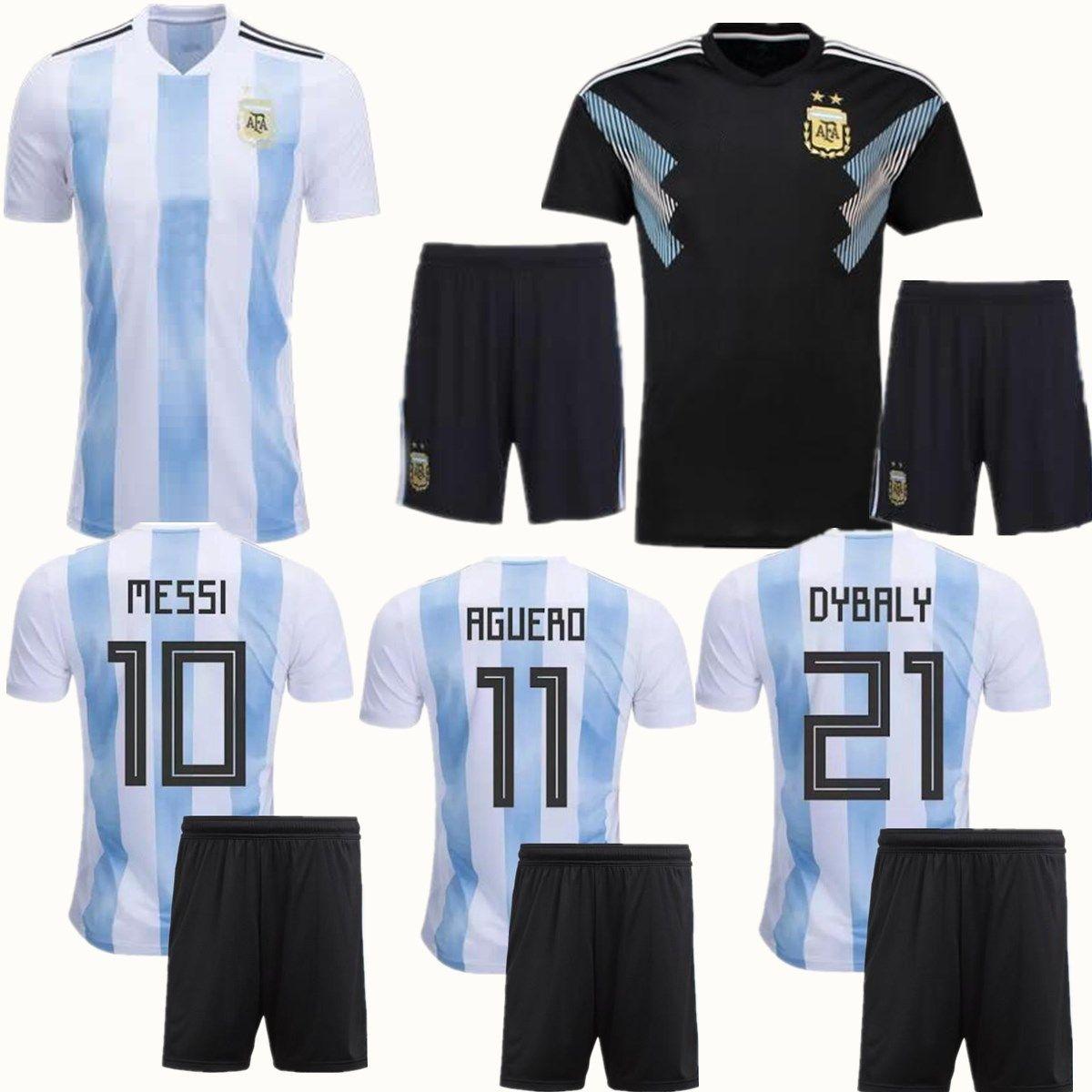b2432f191 Compre Copa Del Mundo 2018 Conjuntos De Fútbol De Visitante De Argentina  MESSI DI MARIA AGUERO KOMPANY DYBALA Maillot Negro Equipación De Adultos  Uniforme ...