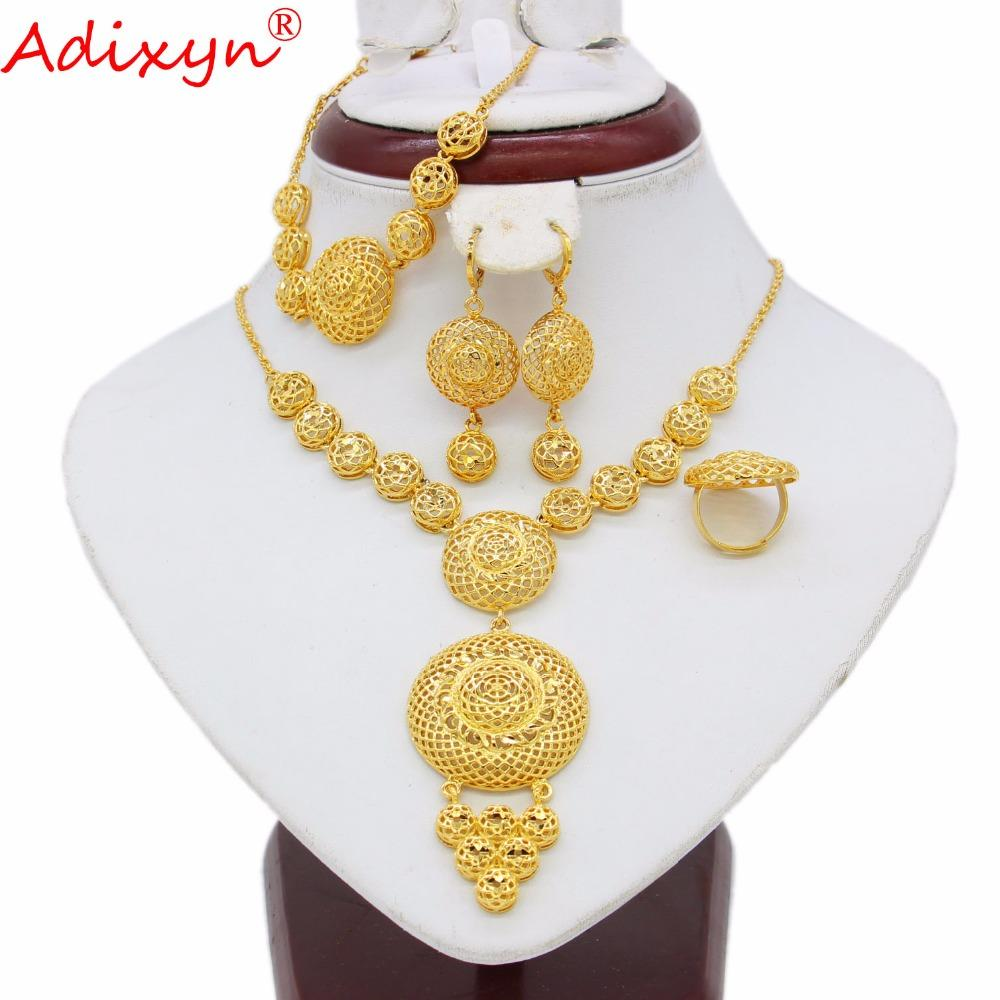 b30bddabf3 Adixyn Ethiopian Round Jewelry Set Gold Color  Necklace/Earring/Bracelet/Ring African/Eritrea/India Women Gift N05083