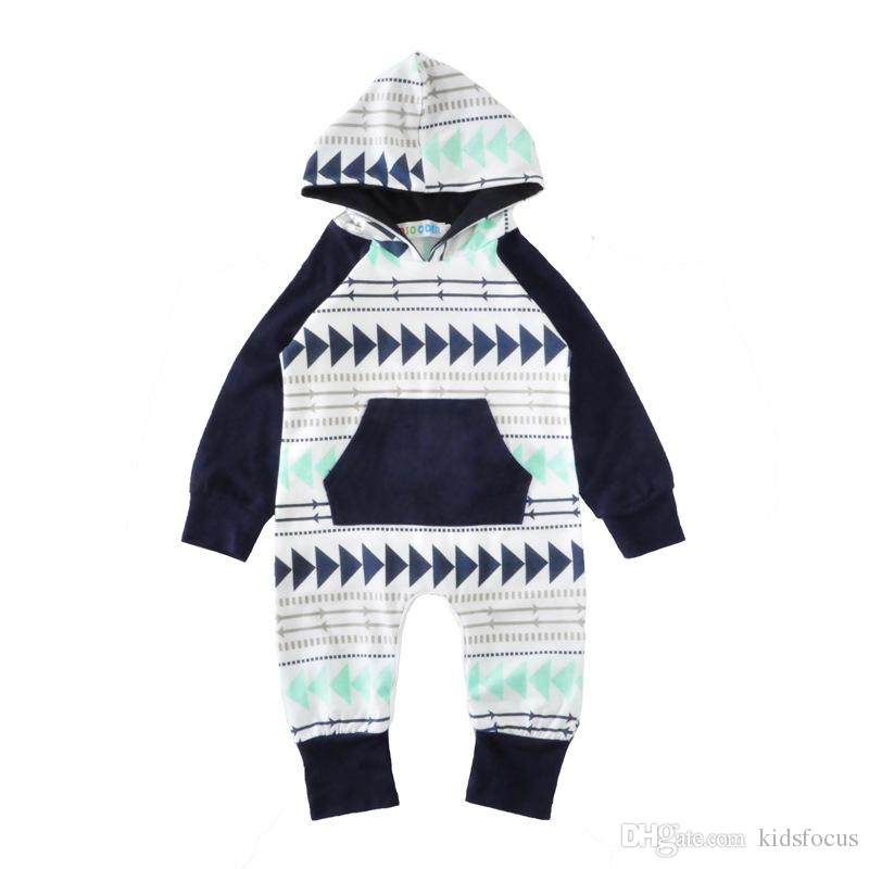 New infant newborn baby boy girls infant Geometric long sleeve hooded Xmas gift romper jumpsuit bodysuit clothes outfits