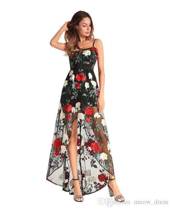 2018 NEW Fashion Women Tulle Sheer Mesh Floral Embroidered Pleated High Waist Midi Skirt Perspective Sexy Sling Long Dress